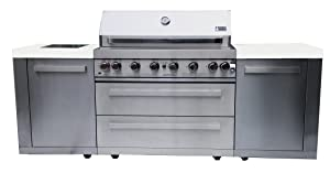 "Mont Alpi MAI805 44"" Outdoor Barbeque Island, 47.00 x 20.00 x 93.00 inches, Stainless Steel"