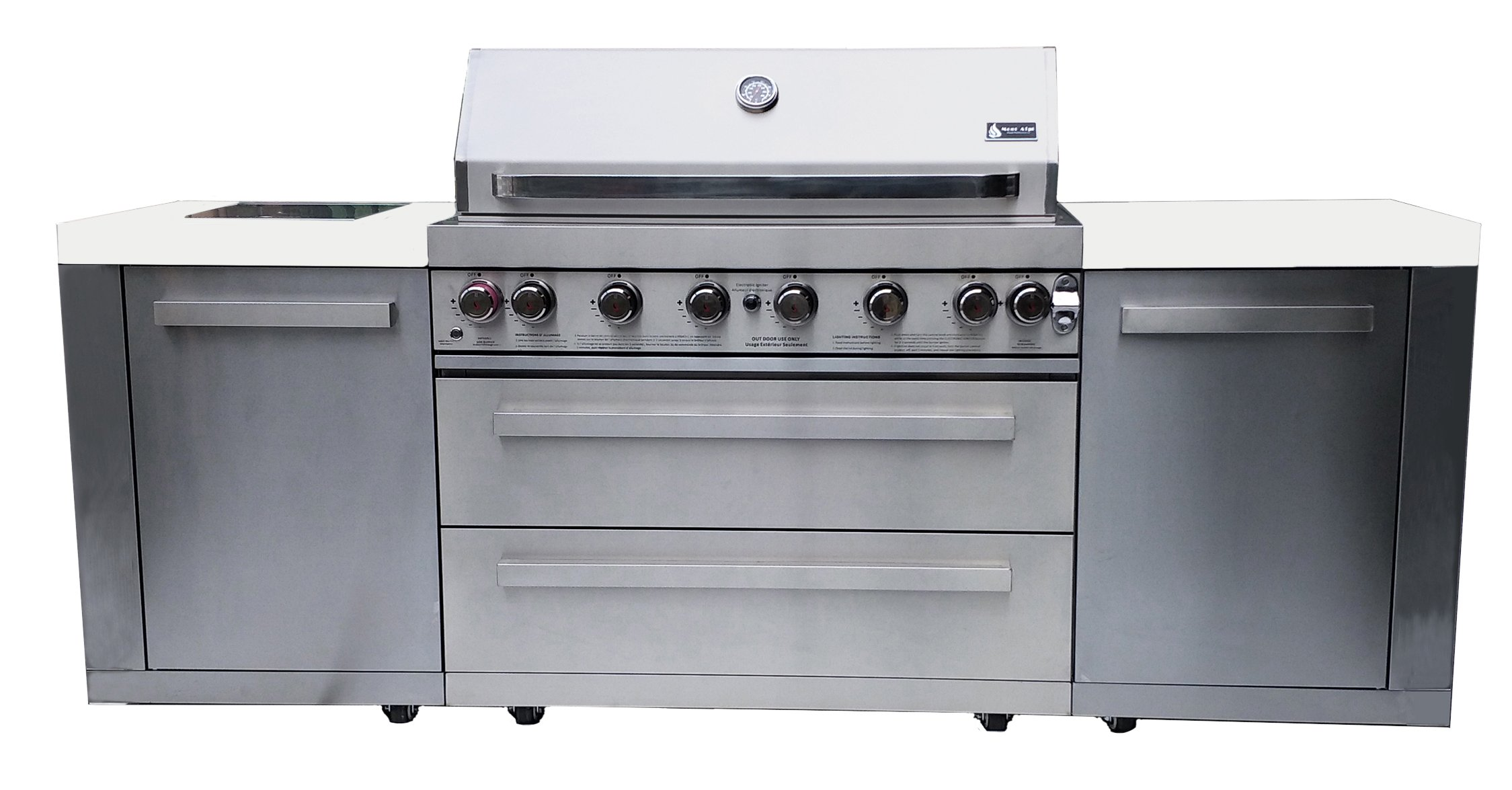 Mont Alpi MAI805 44'' Outdoor Barbeque Island, 47.00 x 20.00 x 93.00 inches, Stainless Steel
