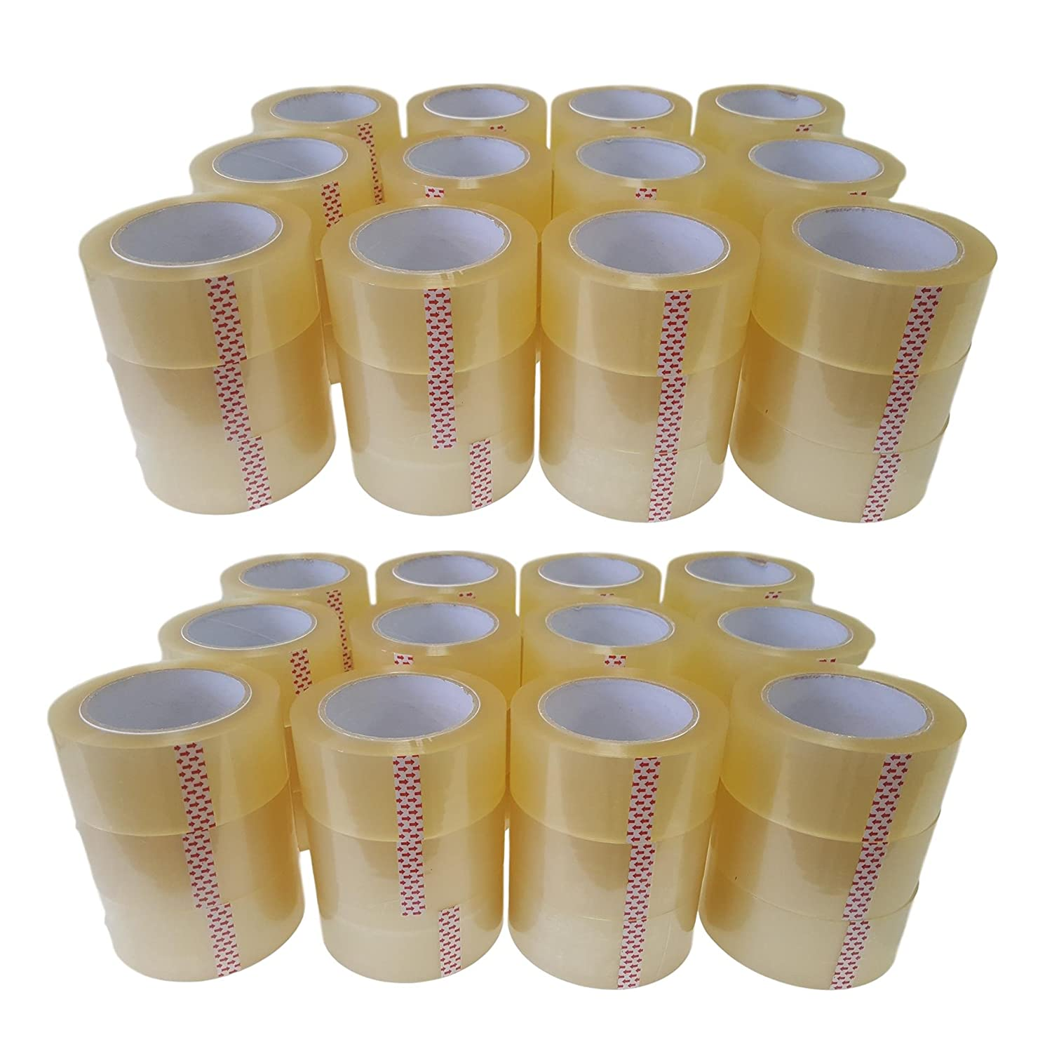 Oknuu 72-Rolls Clear Packaging Packing Tape 2x110 Yards 48mm x 100m - BOPP Water Based Acrylic Glue - Super Strong Carton Sealing Tape - Extra Heavy Duty - 2.56 MIL Thickness