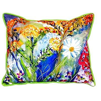 "Betsy Drake SN166 Wild Flower Small Indoor/Outdoor Pillow, 11"" x14"": Home & Kitchen"
