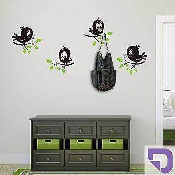 Designscape Garderobe Lustige Vogel Zweifarbige Wandtattoo