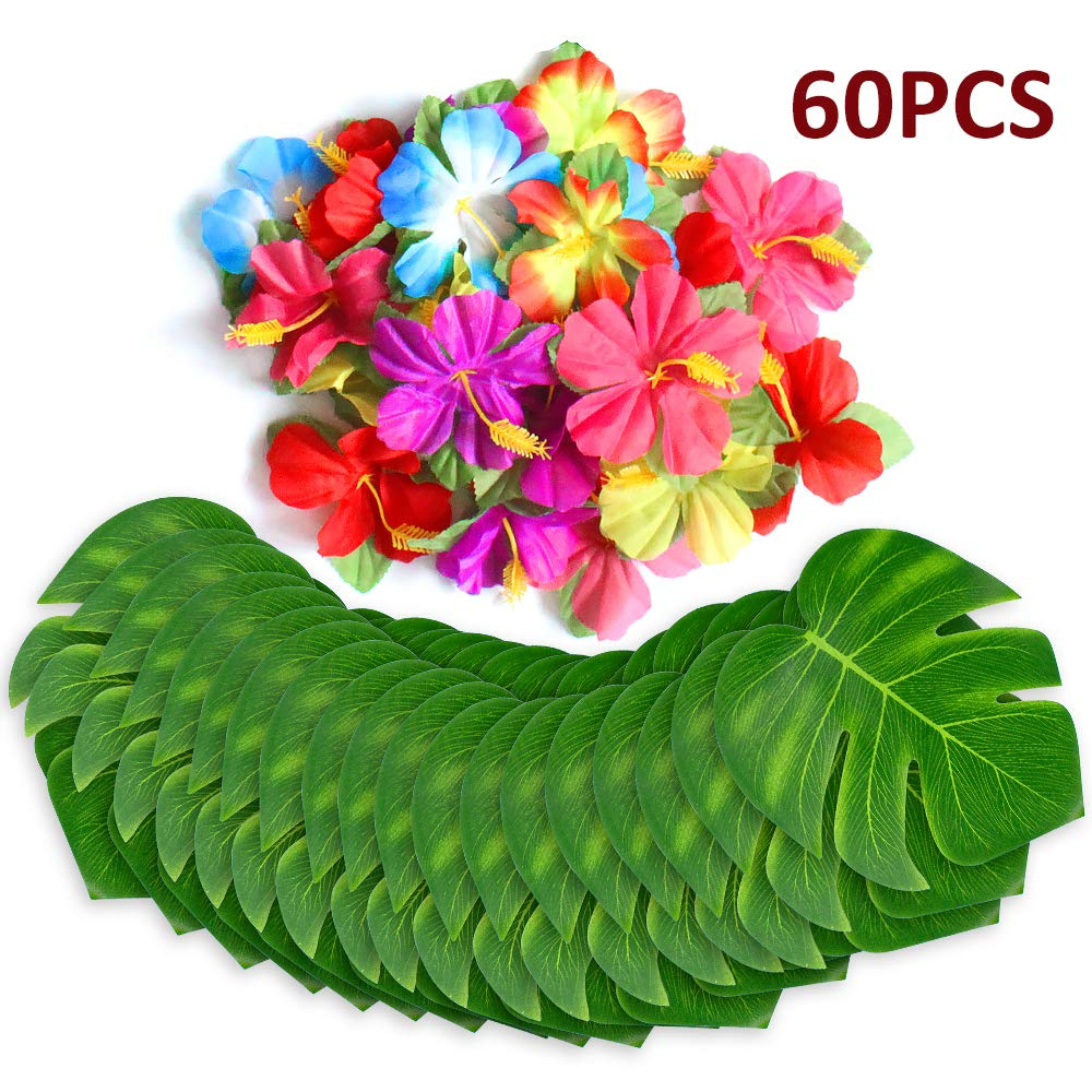 60 Pcs Tropical Party Decoration Supplies 20cm Tropical Palm Leaves and Hibiscus Flowers, Simulation Leaf for Hawaiian Luau Party Jungle Beach Theme Table Decorations Calans