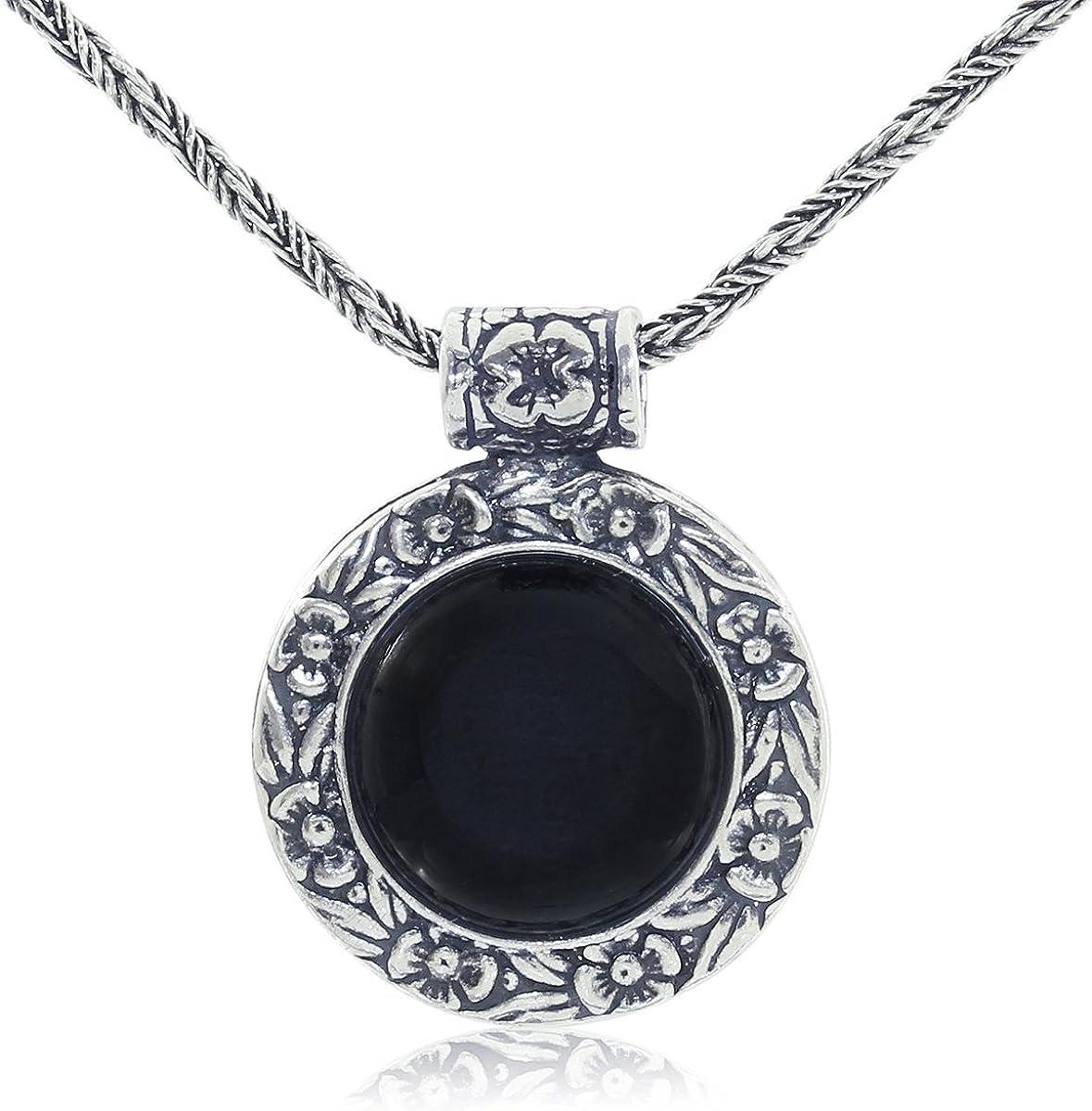 Collar de piedras preciosas redondas con diseño floral antiguo, con cadena de plata de ley 925 trenzada, 50,8 cm
