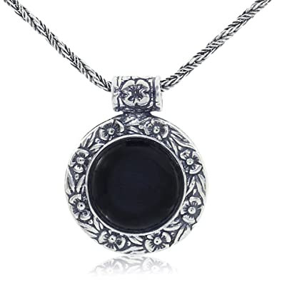 Amazon antique style black onyx pendant round floral design 925 antique style black onyx pendant round floral design 925 sterling silver gemstone necklace 20quot aloadofball Images