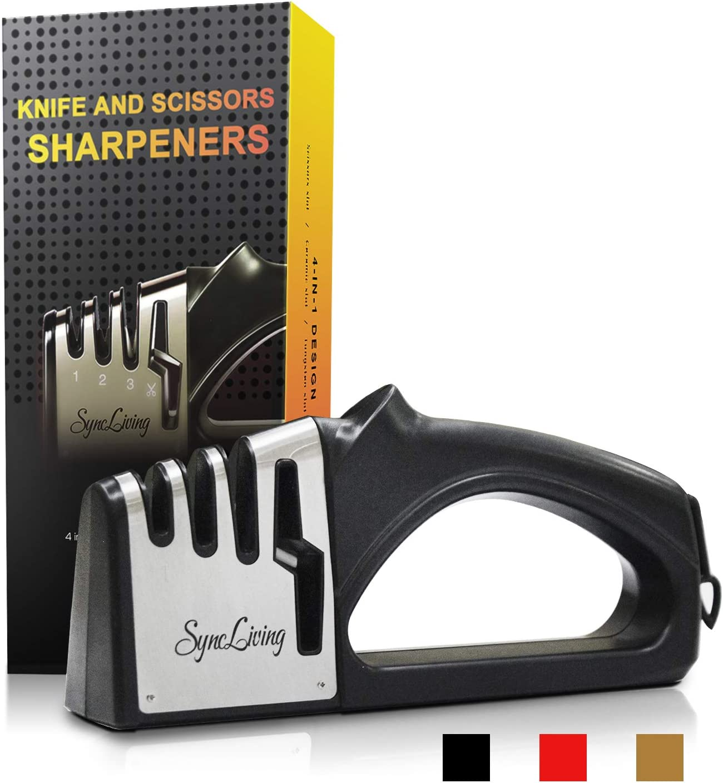 Scissor Sharpener-Sync Living 4-in-1 Knife Sharpener- A kitchen Knife sharpener that has a non-slip base and a comfortable, ergonomic handle