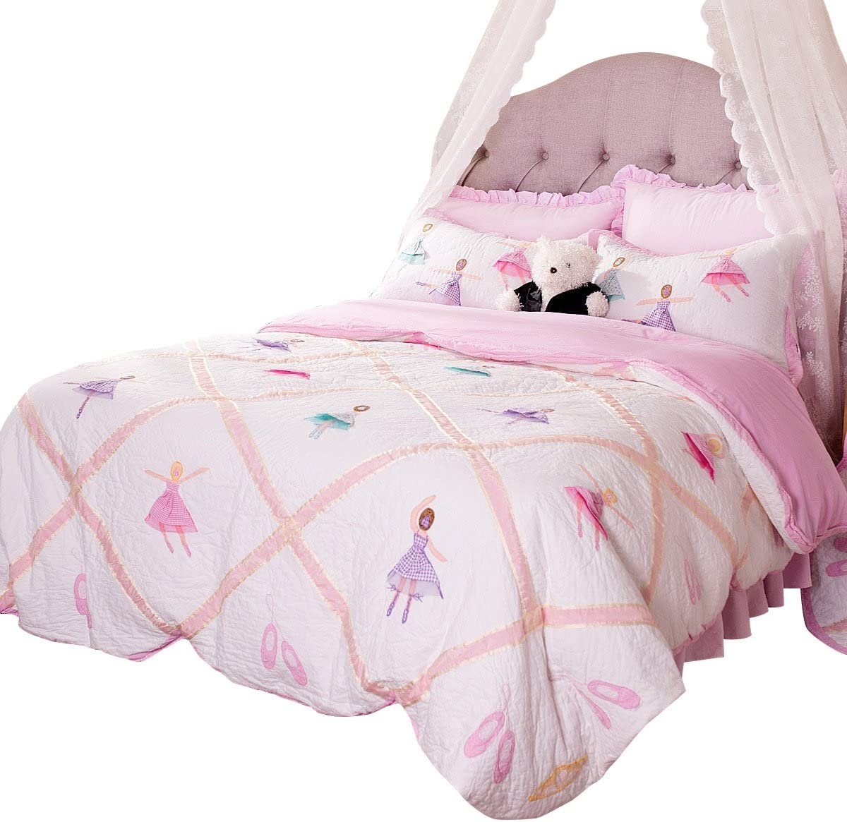Brandream Pink Ballet Kids Comforter Set Cute Girls Bed Quilt Set Full Queen Size Luxury Handmade Quilts