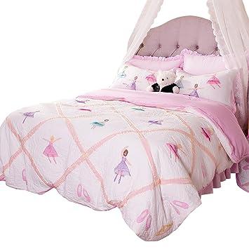 Brandream Pink Kids Comforter Set Cute Girls Bed Quilt Set Cotton Twin Size  Ballet Ballerina Bedroom Set Luxury Handmade Quilts