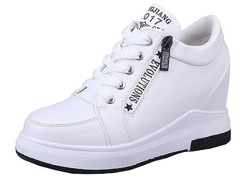 Erhöhte Lace Outdoor Plateau Sommer Sportschuhe Sneakers Up Keilabsatz VECJUNIA Damen f67gvyYb