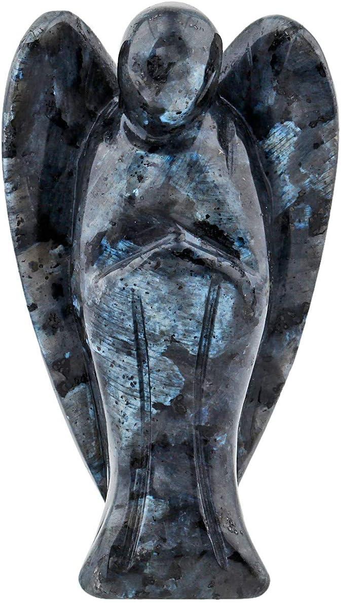 KYEYGWO Ángel Piedras Preciosas Cristal Schutzengel Figuras, Taschenengel Friedensengel Glücksbringer Reiki Fengshui decoración 7 cm, Labradorita