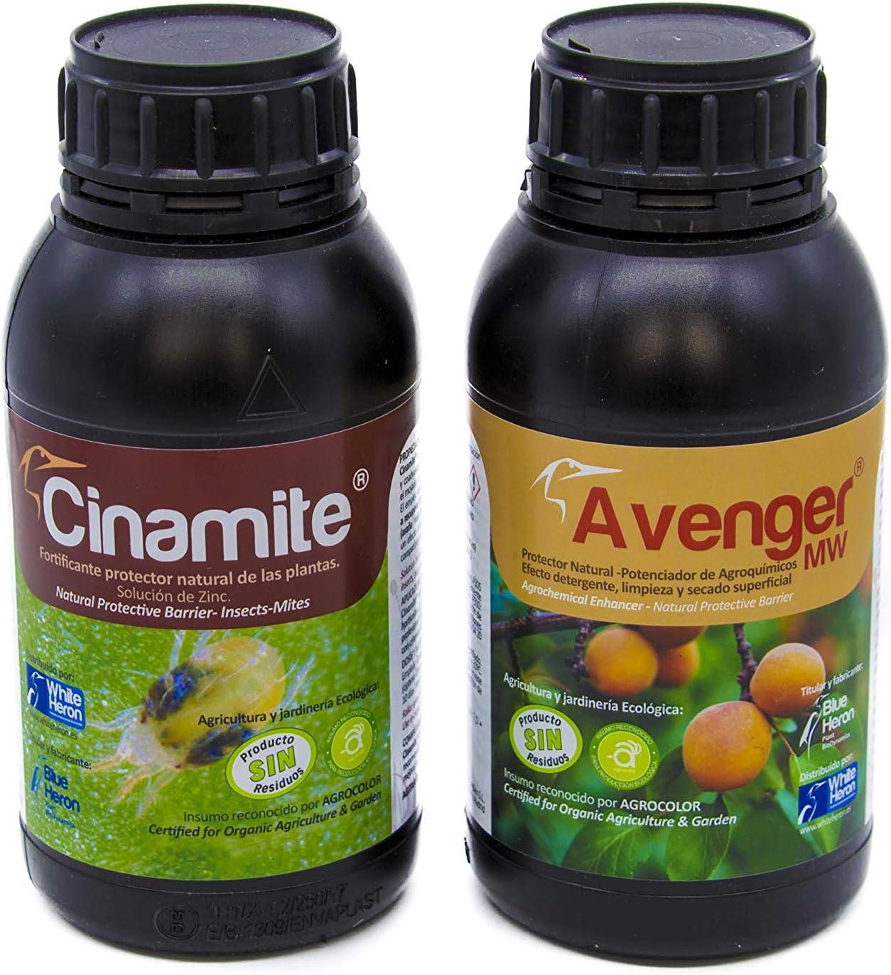 CINAMITE®+Avenger® (550 m2). Perfil Insecticida bioracional-Insectos/Acaros/Hongos; Pack Fito-fortificantes-Fertilizantes Especiales. Plantas Interior/Exterior/Flores/Cultivos. Eco
