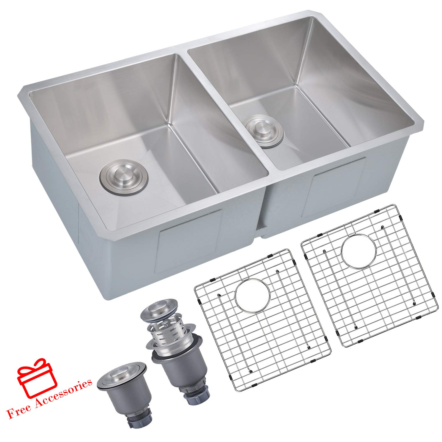 SINOGY 33 x19 Inch 50 50 Double Bowl Undermount 16 Gauge Stainless Steel Kitchen Sink With 2 Drainers and 2 Bottom Grids