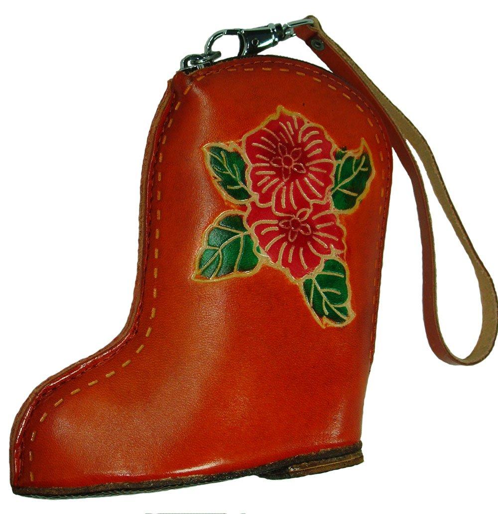 Real Leather Change Purse/Credit Cards Holder,Boot Shape,Orange-Red