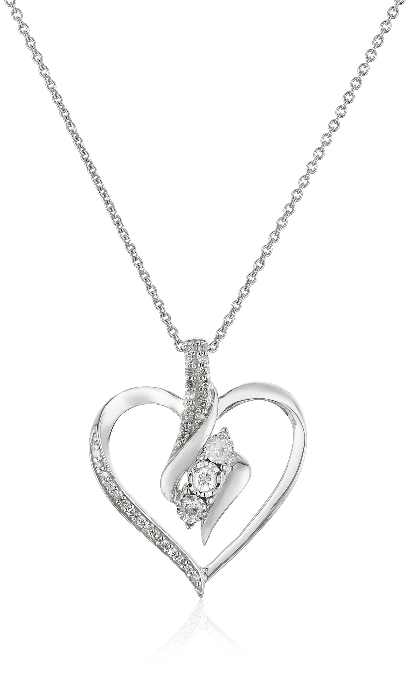 Sterling Silver Diamond 3 Stone Heart Pendant Necklace (1/4 cttw), 18''