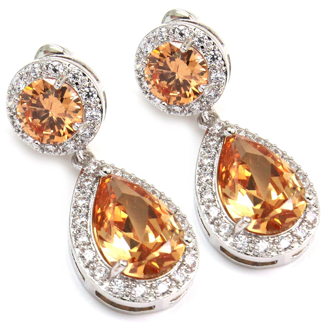 FC JORY Silver White Gold Plated Colorful CZ Crystal Teardrop Dangle Bridal Jewelry Fashion Earrings