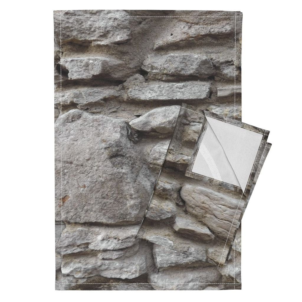 Stone Wall Rock House Photo Stones Rocks Tea Towels Stone Walled by Peacoquettedesigns Set of 2 Linen Cotton Tea Towels