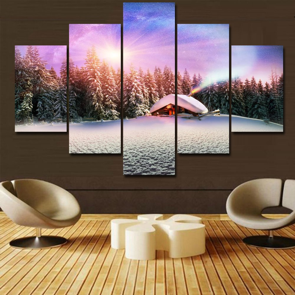 Wall Decor Painting Christmas Gift Canvas Hut in Snow Pictures Black and White Home Decor 5 Panel Modern Artwork for Living Room Framed Posters and Prints Gallery-wrapped Ready to Hang(60''Wx40''H)