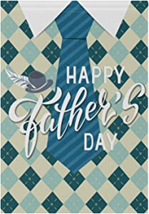 Naanle Happy Father's Day Double Sided Polyester Garden Flag 12 X 18 Inches, Father's Plaid Tie Decorative Flag for Party Yard Home Decor