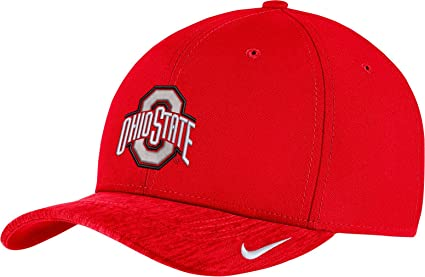 5966eb233a93a NIKE Men s Ohio State Buckeyes Scarlet Aerobill Swoosh Flex Classic99  Football Sideline Hat (Small