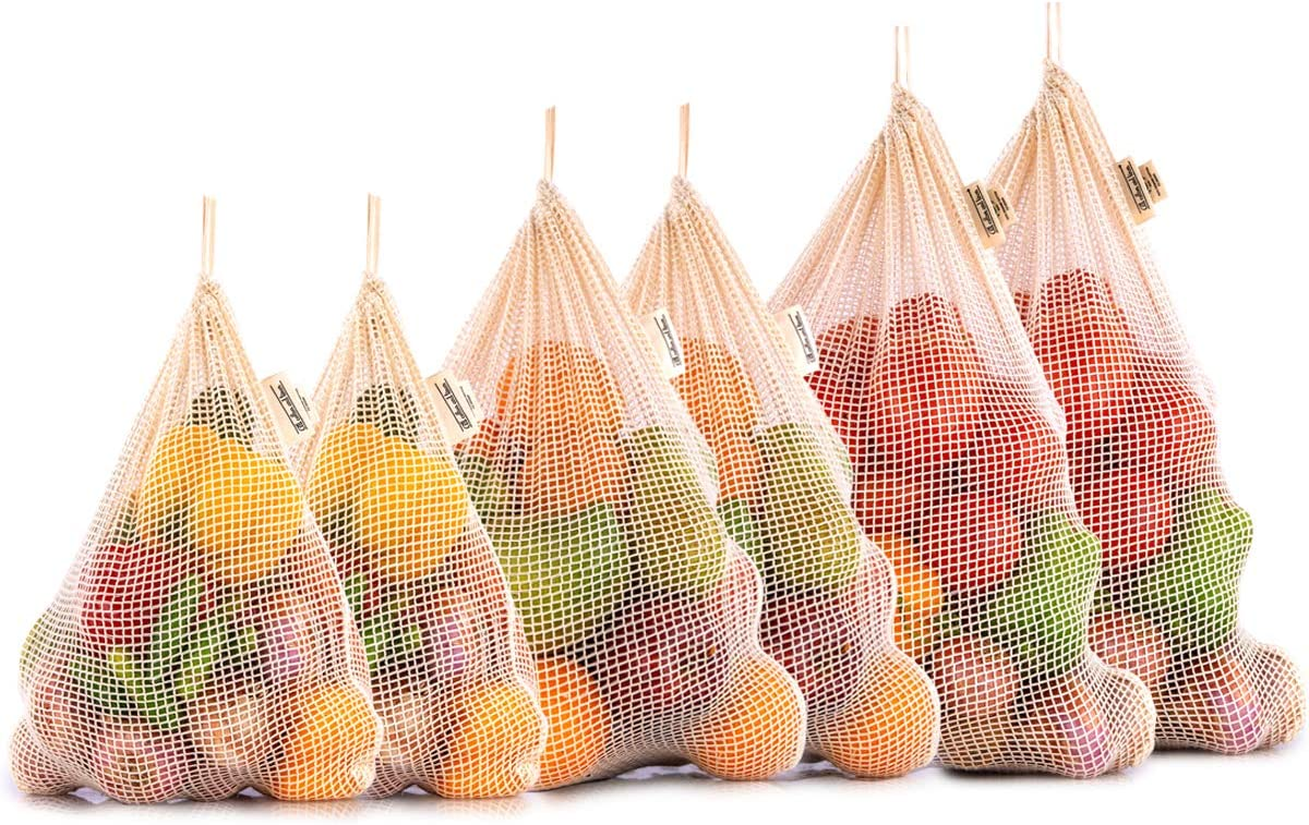 All Cotton and Linen - Reusable Produce Bags Grocery Reusable - Mesh Produce Bags - NetZero Produce Bags - Eco-Friendly Produce Bags - Natural produce bags - (Set of 6 - XL, L, M)