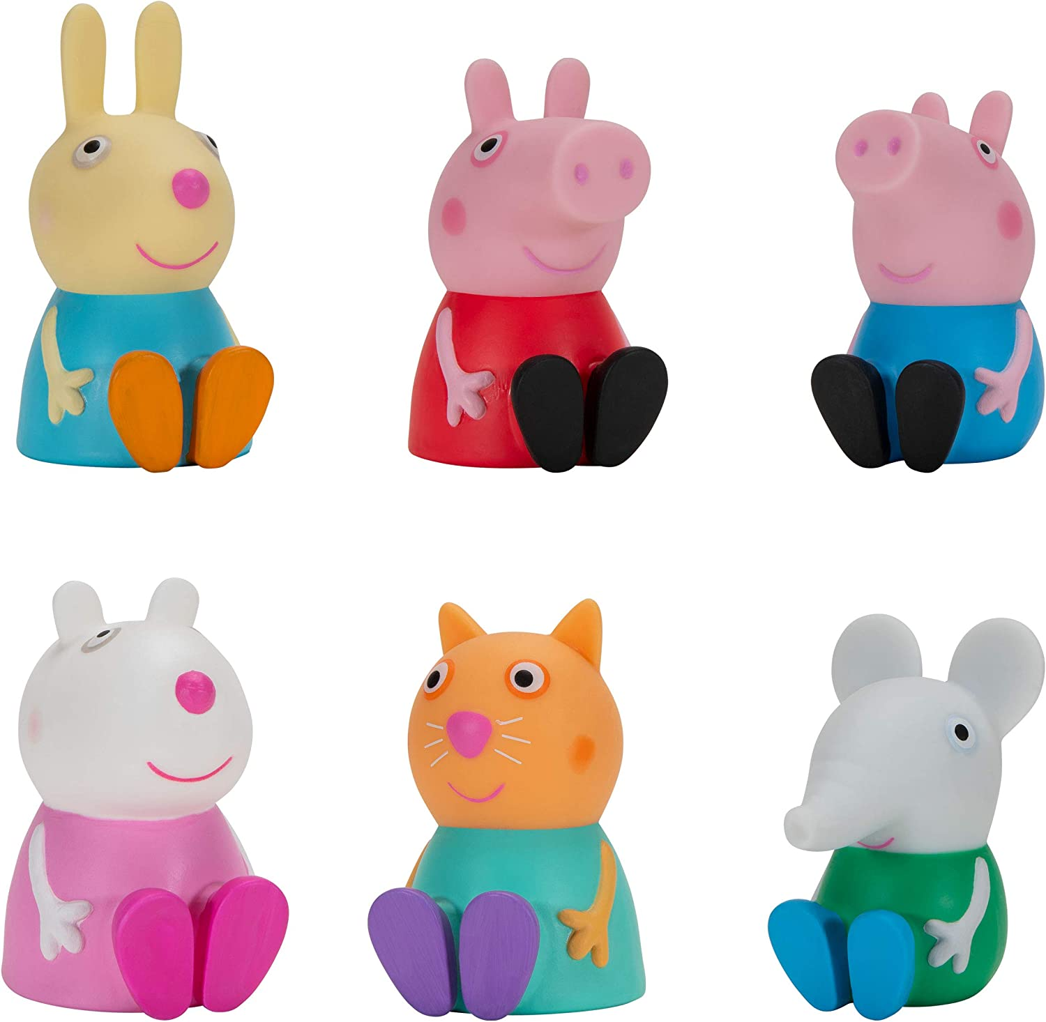 """Peppa Pig & Friends Squishies, 6 Pack, 2.5"""" Tall, Features 6 Character Toy Figures Like George, Suzy Sheep, Candy Cat, Edmond Elephant, Rebecca Rabbit – Toys for Preschoolers (PPZ0003)"""