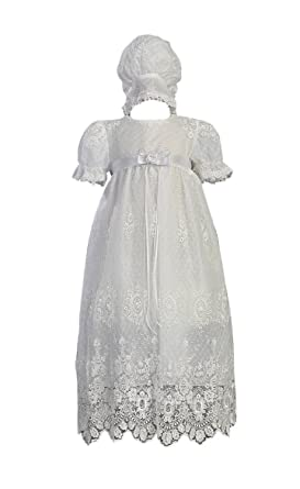 f2f55668c White Embroidered Tulle Lace Christening Baptism Gown - Size XS (0-3 M)