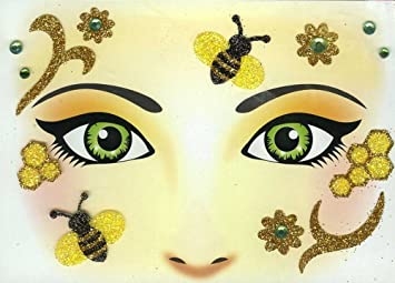 Face Art Decor Glitzer Tattoo Sticker Biene Wunderschone