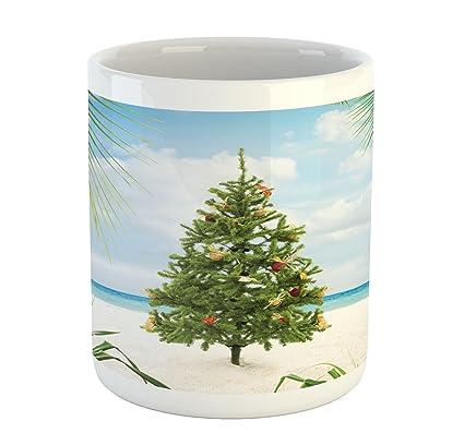 Island Christmas Theme.Ambesonne Christmas Mug Tree With Tinsel And Ornaments Tropical Island Sandy Beach Party Theme Printed Ceramic Coffee Mug Water Tea Drinks Cup