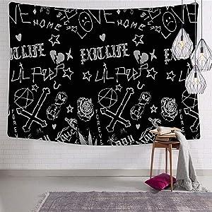 LONGYAN Lil_peep's Tattoos Pattern Black Home Tapestries Artwork Wall Hanging Bedroom Living Room Dorm Decor Fabric 59.1 x 82.7 Inch