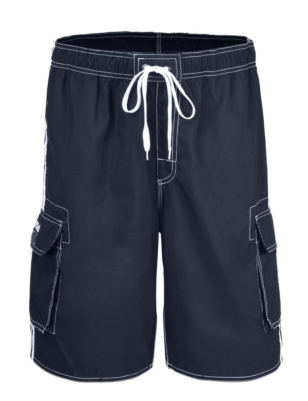NONWE Men's Summer Quick Dry Lightweight Swim Trunks Beach Shorts Deep Blue 38