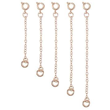 c1f7d41cd034 5 Piezas Extensor de Collar Set de Cadena de Extensión de Pulsera para  Manualidades de Collar y Pulsera Fabricación de Bisutería (Dorado Rosado)   Amazon.es  ...