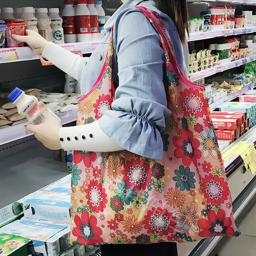 Czemo Bolsas de Compras Plegable Bolsa de Tela para Compras Bolsas de Supermercado Reutilizables 4 Piezas