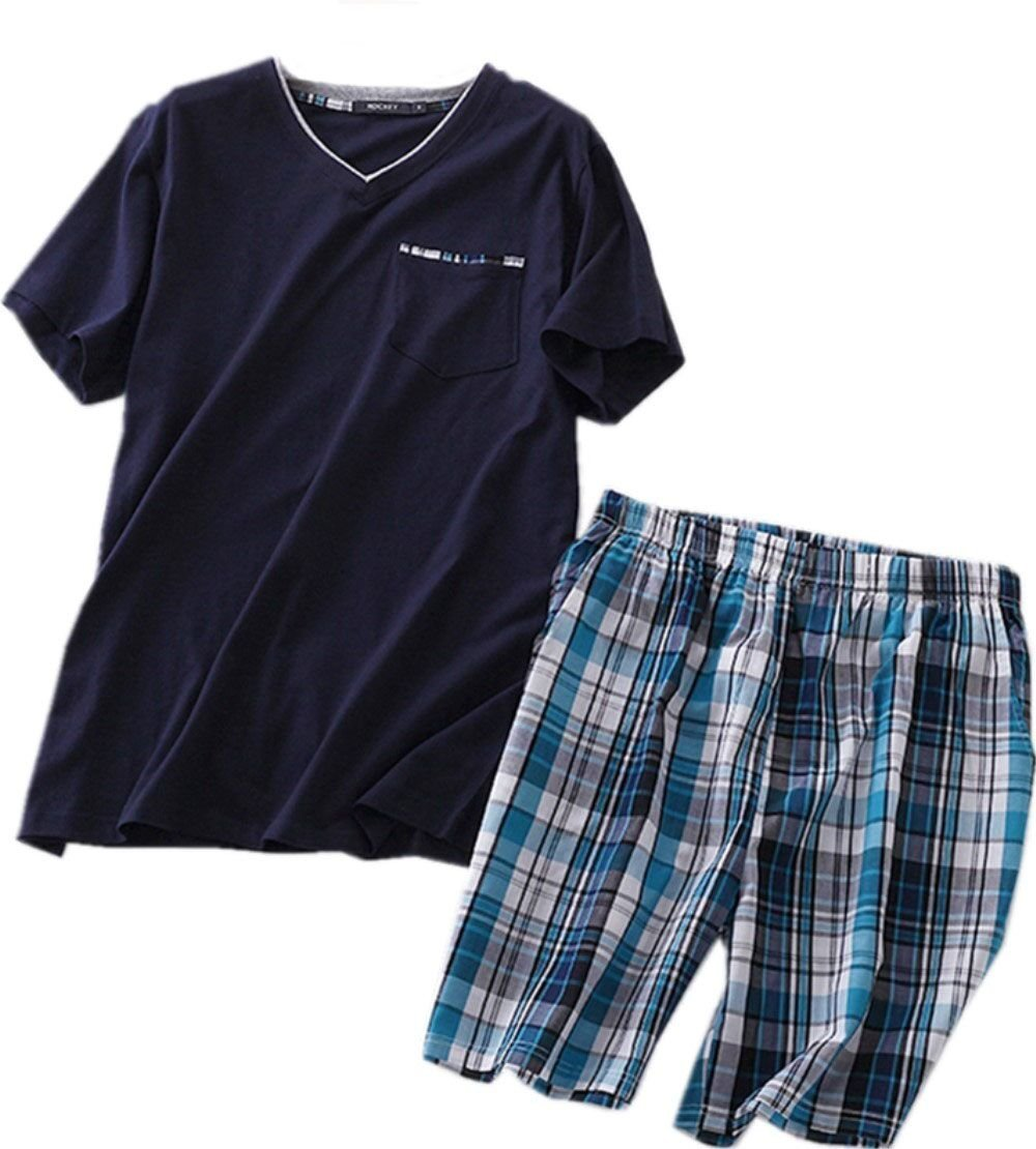 Amoy madrola Men's Cotton Soft Sleepwear/Short Sets/Pajamas Set SY227-V Navy-XL