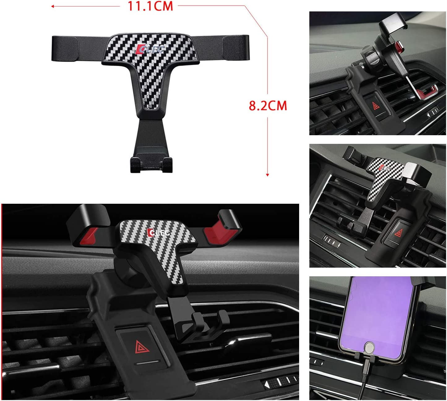 R RUIYA 2018 2019 Tiguan Smartphone Cell Phone Mount Holder with Adjustable Air Vent Clip Cover Fit for 3.5-6.0 Inches Phone