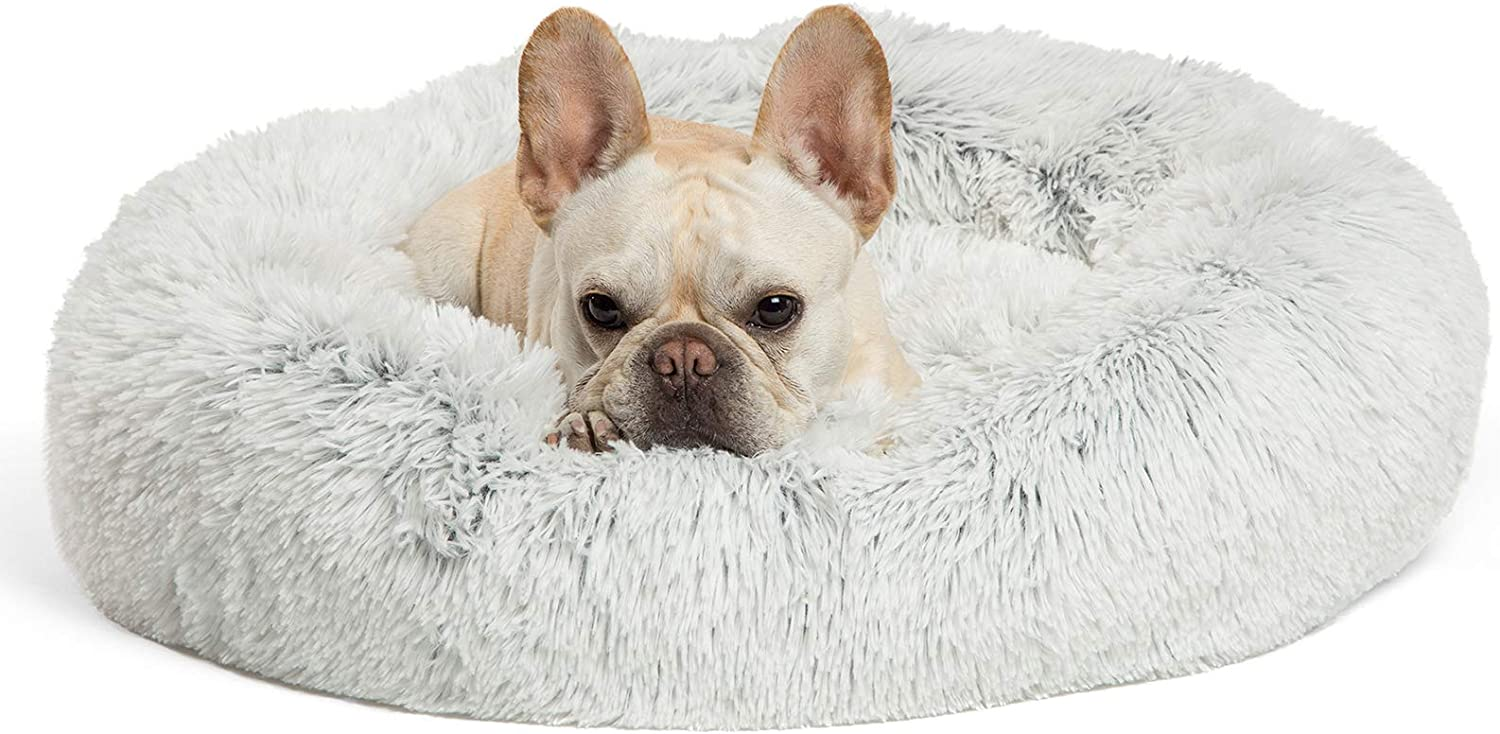 best friends by sheri the original calming donut cat and dog bed in shag fur machine washable