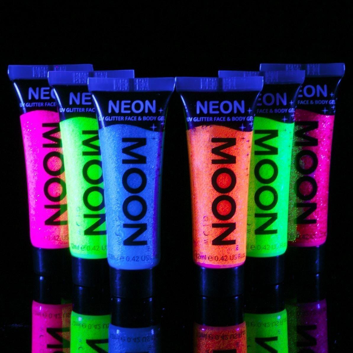 Moon Glow - Blacklight UV Glitter Face & Body Gel - 12ml Set of 6 - Neon - Glows brightly under Blacklight