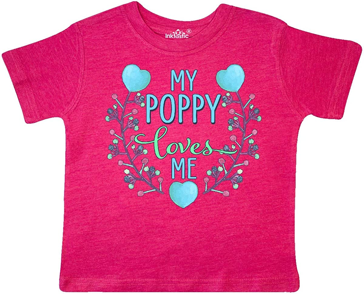 inktastic My Poppy Loves Me with Flowers and Hearts Toddler T-Shirt