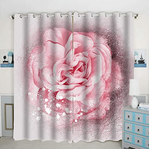 QH Beautiful Pink Rose Blossom Window Curtain Panels Blackout Curtain Panels Thermal Insulated Light Blocking 42W x 84L inch Set of 2 Panel