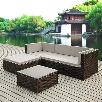 IKayaa 5PCS Rattan Wicker Patio Sofa Set Garden Furniture W/ Cushions  Outdoor Corner Sectional Couch