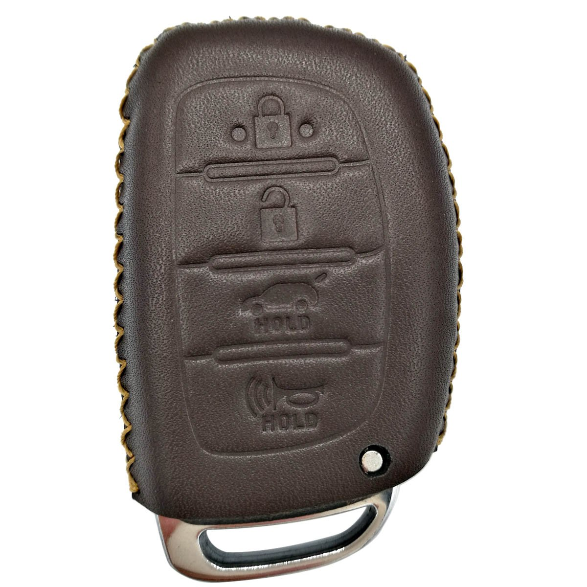 Coolbestda Genuine Leather Key Fob Remote Cover Keyless Entry Jacket Holder for 2018 2017 2016 Hyundai Tucson Elantra Sonata 4Buttons NOT FIT Flip//Pop Out//Folding key Brown