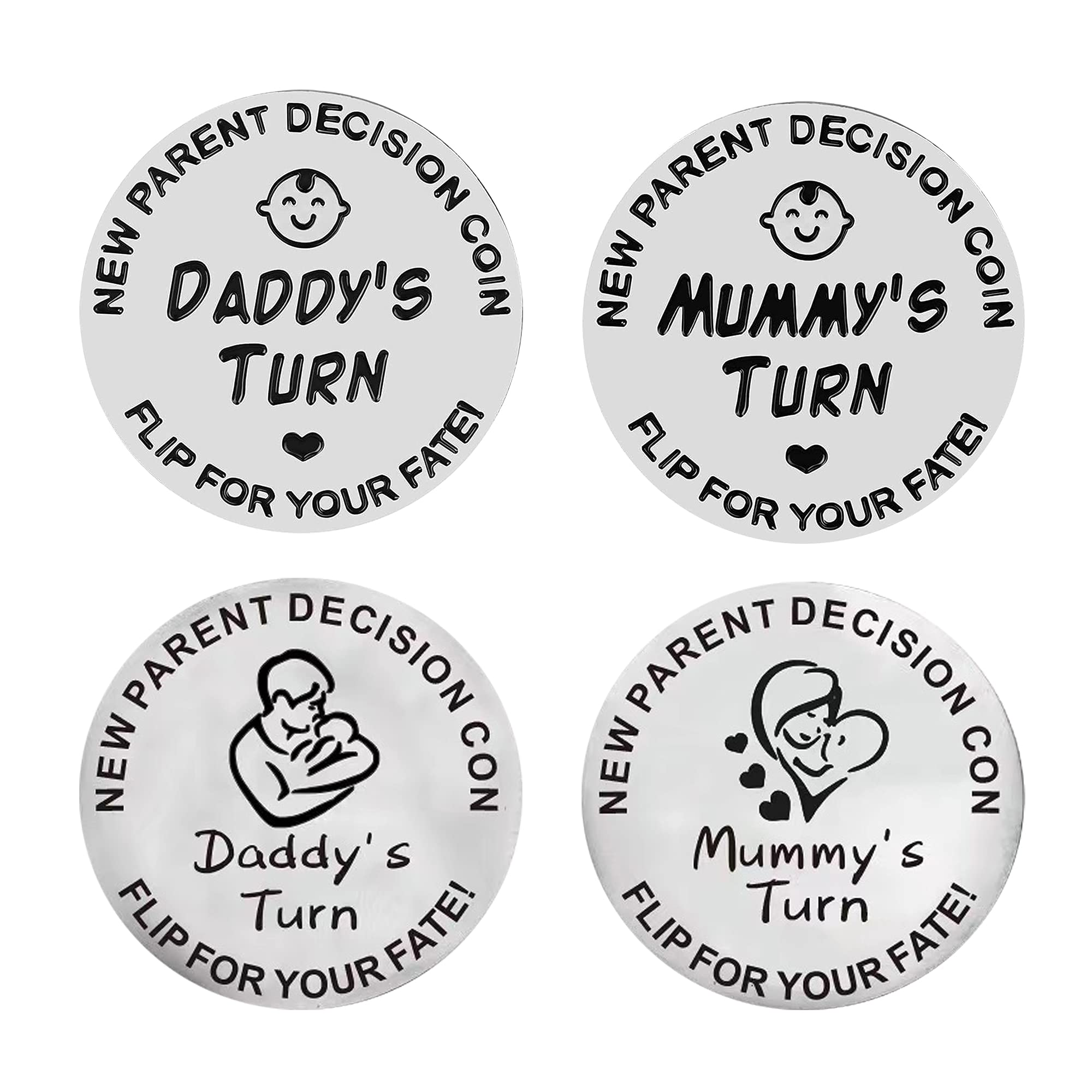 2PCS Different Look Double Sided New Baby Best Decision Coin Gift for
