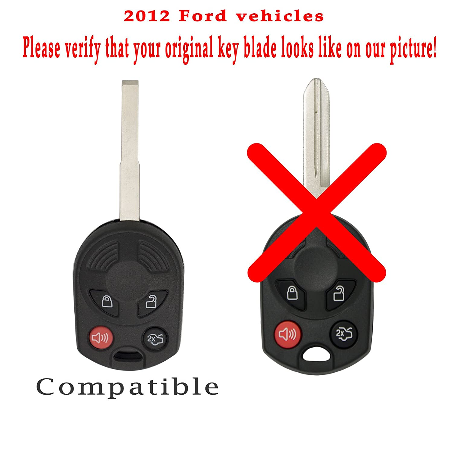 Keyless2Go New Uncut Keyless Remote Head Key Fob Replacement for Ford Focus Escape Transit CMax OUCD6000022 164-R8046