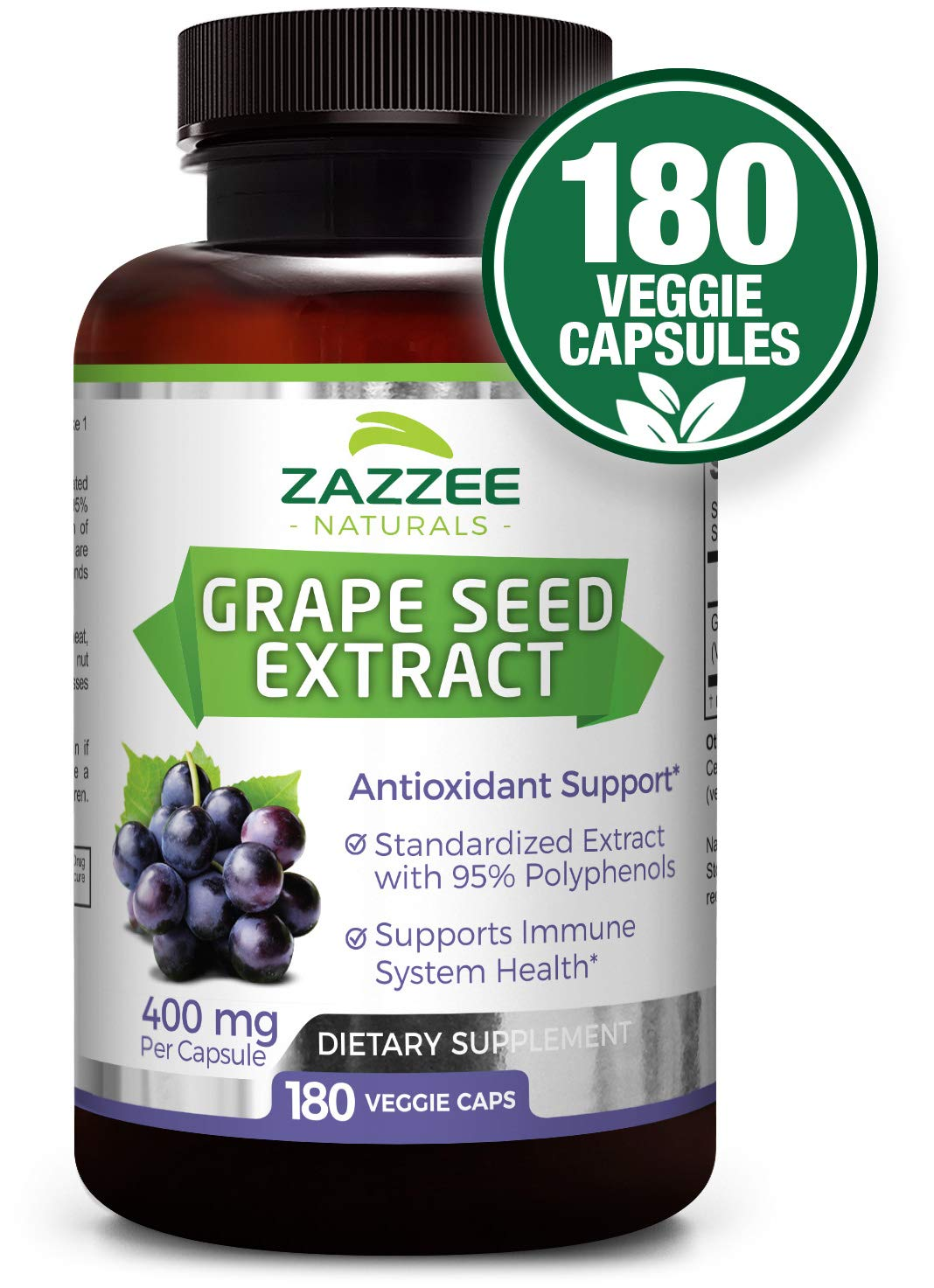 Grape Seed Extract | 400 mg | 6 Month Supply | 180 Veggie Caps | 95% Proanthocyanidins | All Natural, Vegan and Non-GMO | Extra Strength Pharmaceutical Grade