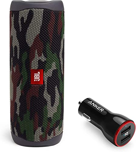 JBL Flip 5 Waterproof Portable Wireless Bluetooth Speaker Bundle with 2-Port USB Car Charger – Camouflage