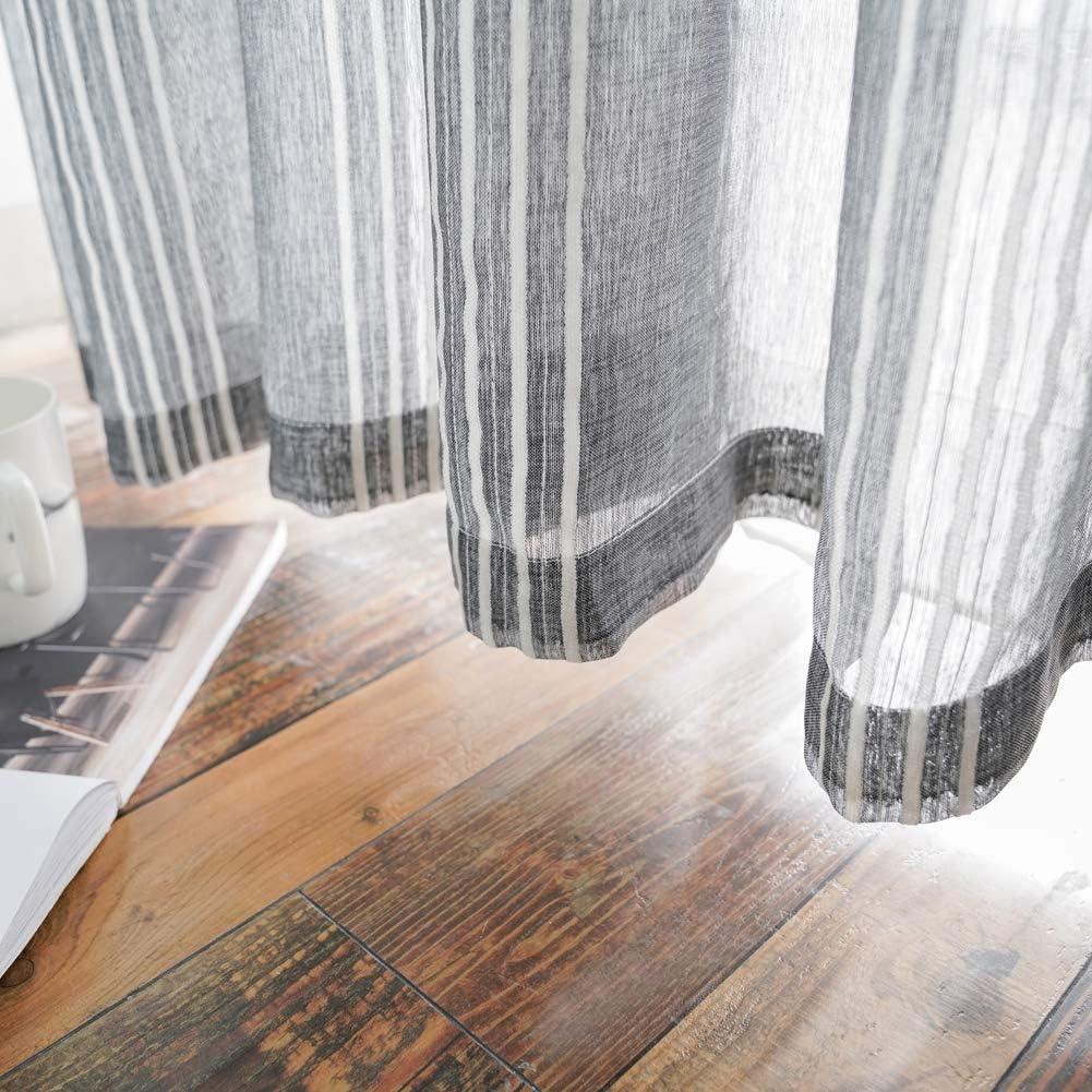 Dessus /à /œillets Maritown Rideaux en Organza Rideau de fen/être en Voile de Voile de Coton et Lin de Style Japonais avec Style Solide traitements de fen/être Modernes 1 Panneau