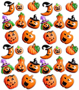 MSCFTFB 32 Pieces Halloween Slime Charms Pumpkin Witches Apple Slime Beads Flatback Resin Embellishments for Halloween Costumes Hair Accessories Phone Case Scrapbooking Decorations