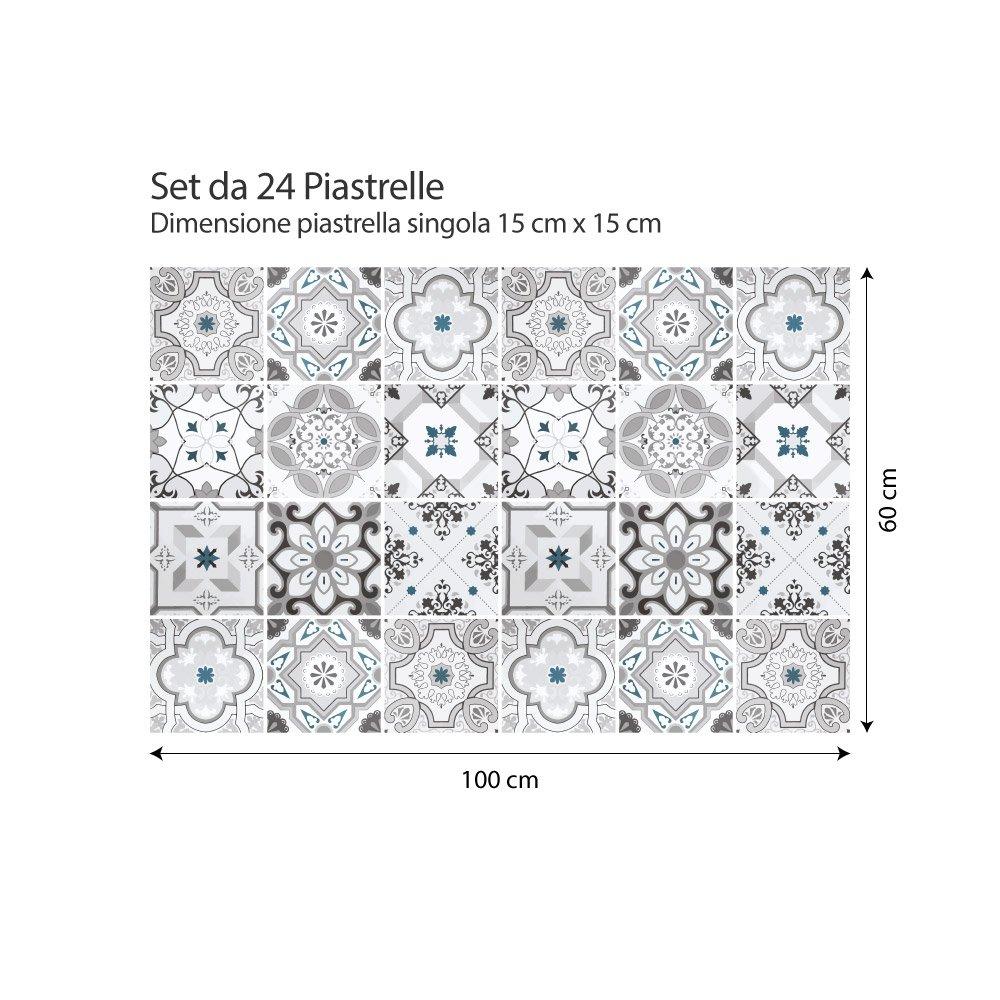 Collage de Azulejos Piezas PS00095 Stickers Azulejos 54 Adhesivo para Azulejos 10x10 cm Damasco Adhesivo Decorativo para Azulejos para ba/ño y Cocina