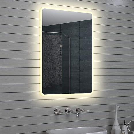 Espejos Bonitos Para Banos.Lux Aqua Diseno Led Cuarto De Bano Espejo Luz Espejo Espejo De Pared Espejo 100 X 70 Cm