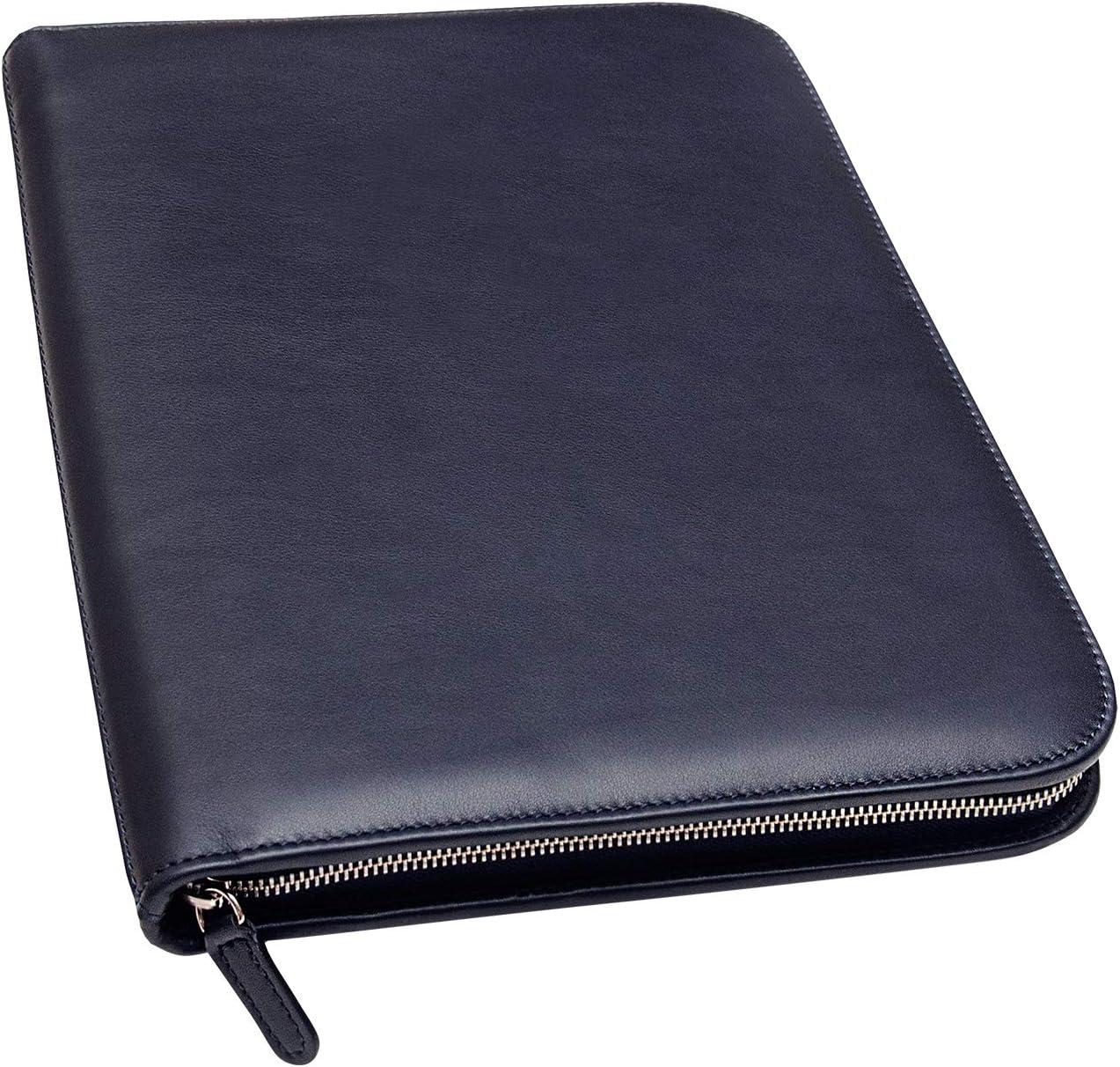 Maruse Personalized Italian Leather Executive Portfolio Padfolio, Folder Organizer with Zip Closure and Writing Pad, Handmade in Italy, Navy