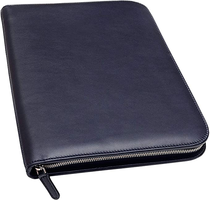 "UNIMIRA Zippered Leather Portfolio Padfolio Blue Navy Letter 12.9/"""