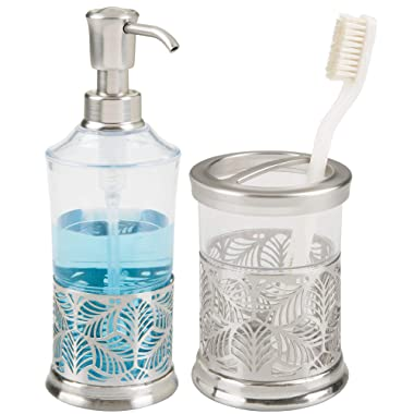 mDesign Decorative Bath Accessory Set with Leaf Design for Bathroom Vanity Countertops and Sinks, Includes Hand Soap Dispenser and Toothbrush Holder - Set of 2, Clear/Brushed Nickel